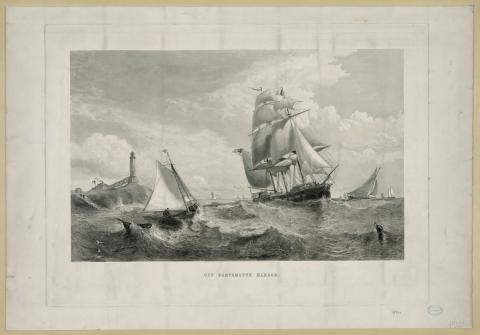 19th century illustration of ship passing Isles of Shoals (White Island) Lighthouse