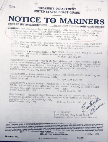 Notice to Mariners, December 1951
