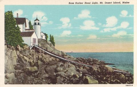 Bass Harbor Head white border postcard