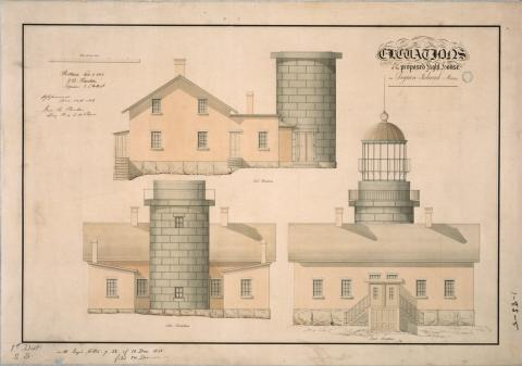 plans showing elevations of lighthouse and dwelling