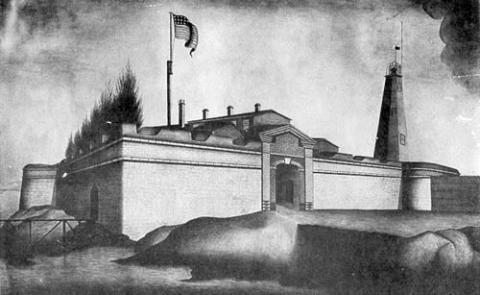 drawing of 1804 tower behind fort
