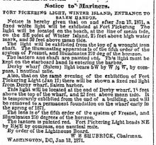 Fort Pickering - Notice to Mariners
