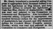 newspaper clipping about appropriating for lighthouses