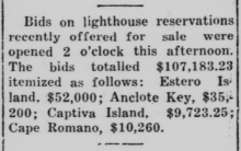 newspaper clipping about bids for lighthouse reservations