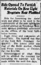 newspaper clipping about lighthouse construction