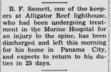 newspaper clipping about lighthouse keeper injury