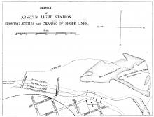 Absecum Sketch Showing Jetties and Change of Shore Lines