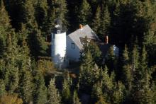 Aerial view of lighthouse and dwelling