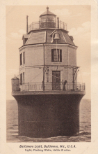 early post card  of caisson lighthouse
