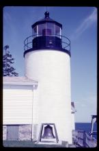 Close view of lighthouse tower