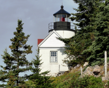 Close view of lighthouse and fog signal building