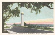 postcard showing lighthouse in distance