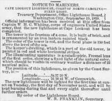 Cape Lookout NC Notice to Mariners 1859
