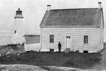 Old photo of Annisquam Harbor Light Station showing 1851 tower