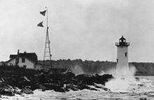 Portsmouth Harbor Lighthouse - 1950s photo with storm signal tower