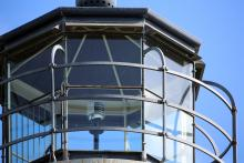 close up view of the lantern and optic